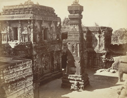 [South side looking west of the façade of the Kailasanatha Cave Temple (Cave XVI), Ellora.]